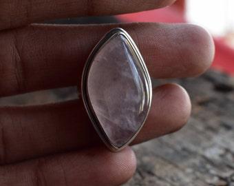 size-7.5US rose quartz ring,natural rose quartz ring,92.5 silver ring,gemstone ring,quartz ring,natural rose quartz ring