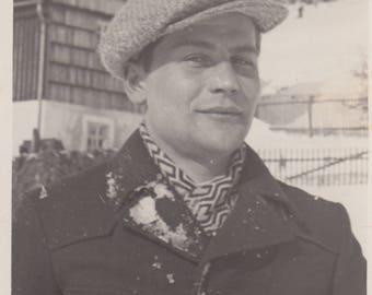 Vintage Photo Handsome Man Portrait Winter Fashion Found Vernacular Black & White Antique Photography Clothing Art Ephemera Design Decor