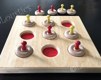 Wooden Tic Tac Toe game, for children, girls and boys, made in Quebec