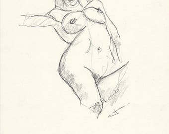 NUDE study - Drawing on paper