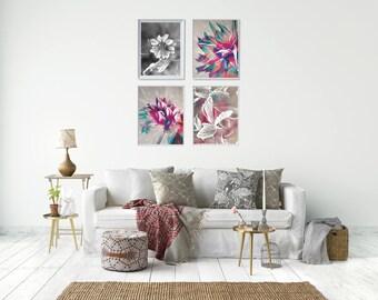 Flower Painting Art Print Set, Printable Art Bundle, Modern Floral Art Prints Set, Wife Gift Ideas Birthday, Modern Floral Painting Set