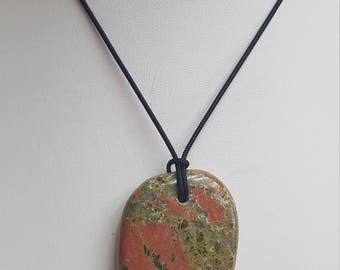 Unakite Pendant Necklace, Free Shipping (E17077)