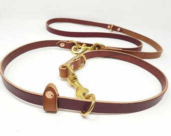 Multi-positions Leather Dog Leash - 6 feets
