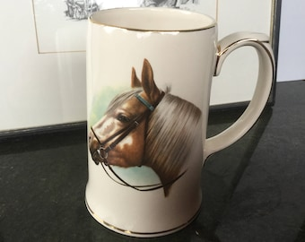 SALE Sadler porcelain tankard Horse themed Palomino portrait Made in England Beer stein Horse lover gift Collectibles