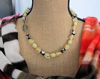 "Glass, Foil and Silk Beads 21"" Necklace - Lampwork Glamour - Black, Clear, Silver, Gold"