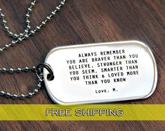Personalized Dog Tag Necklace, Custom Mens Jewelry, Personalized Daddy Necklace Fathers Day Gift, Dog tag