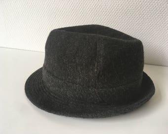 Man Hat, grey felt hat, hat made in france, vintage hat, hat man felt, man accessory, man gift, winter hat, winter man dressing, dad gift,