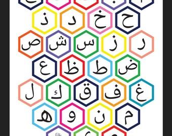 Hexagon Arabic Alphabet Art Print
