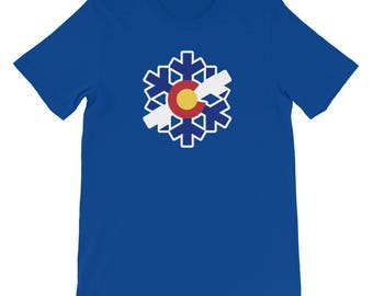 Colorado State Flag Snowflake T-Shirt - (S-4XL) Snow Flake Colorado native swag pow ski snowboard shirt