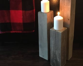 Rustic Reclaimed Wood Candle Pillar Set