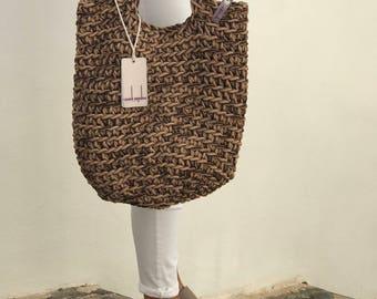Scandinavian Style Crochet Bag Knitted Handbag BROWN MIX color