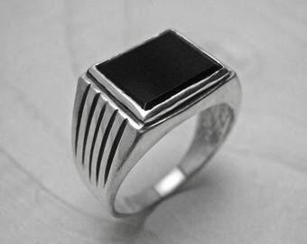 Mens silver ring,black onyx ring,silver signet ring,antique silver ring,onyx ring,bague homme,vintage ring,silver mens ring,chevaliere homme