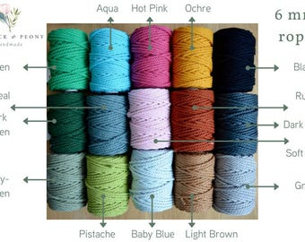 6 mm Twisted 100% cotton macrame rope - 40 meters, several colours available