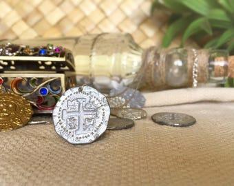 Silver Metal Pirate Treasure Coin Necklace - pirates of the Caribbean, tin, silver alloy, pirate coin, replica, treasure, gold coin