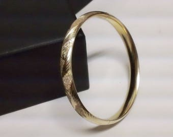 Elegant 14Kt F&D Yellow Gold Florentine Etched Hinged Bangle/Bracelet 10.3G Free Domestic Shipping