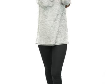 Melange Cowl Neck Hoodie Top (Made in USA)