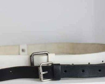 2 in 1, white and black leather belt / vintage 70's / buckle in silver/SHALAKO