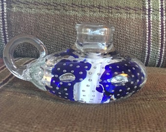 Joe St Clair Paperweight candle holder and chamberstick blue flowers