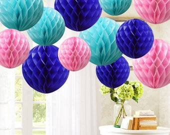 "12 MIX Blue Shade 4""/6""/8"" Paper Honeycomb Balls Lantern Table Garland Wedding decoration hall venue room engagement party pompoms pom pom"