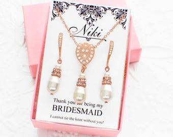 Rose gold jewelry set, bridesmaid jewelry set, rose gold bridesmaid necklace earring set, bridal wedding jewelry set, bridal necklace set