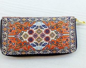 Zippered wallet, cotton purse,zipper purse, long wallet,cute wallet,cool wallet,women wallet,boho wallet,cool purse,zippered purse