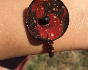 Genuine leather brown and red ebru marbling bracelet, boho leather jewelry, authentic design marbled leather bracelet, oriental leather