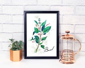 Watercolor Herb Prints, Herb Wall Decor, Watercolor Herbs, Herb Poster, Herb Prints, Basil Watercolor, Basil Print, Herb Collection, Basil