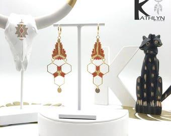 Earrings MAYA Brown caramel and gold