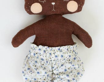 handmade stuffed bear with white and blue floral bloomers • hand embroidery • dress up doll • heirloom rag doll • woodland plush • kid's toy