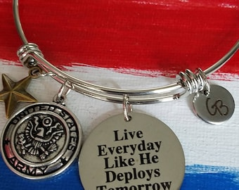 Army wife bracelet, Slide Bangle, Slide Bracelet, Military Wife, Charm Bangle, Military Theme, Trendy Style, Gift For Her, Army