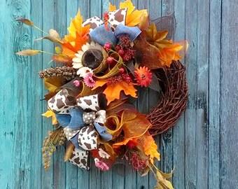 Fall wreath, Autumn wreath, Rustic fall wreath, Herbst türkranz, Door decoration
