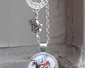 White Rabbit Cabochon Alice in Wonderland Charm Necklace