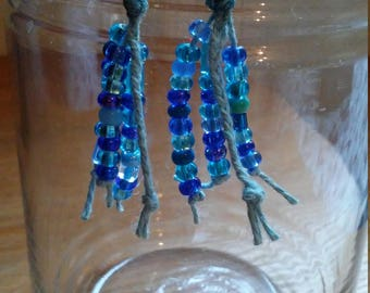 Blue Bead Blue Hemp Earrings