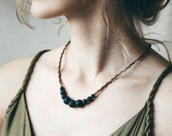 Lava Macrame necklace, handmade jewelry, lava rock necklace