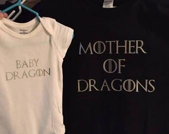 Mother of Dragons, Baby Dragons Tshirt set