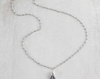 Lily Beaded Tassel Necklace | Chrome