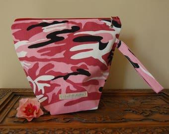 Pink Camo Knitting Project Bag, Medium