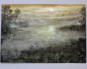 Original watercolor painting Landscape, original watercolor sunset landscape, watercolor Sunset on the River Landscape Painting Watercolour
