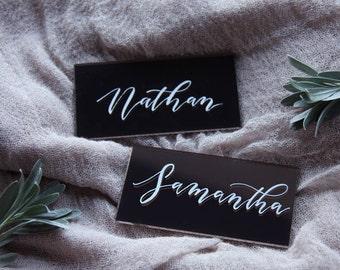 Acrylic Place Cards. Wedding Name Cards. Event Name Cards. Bronze Gold Calligraphy Place Settings. Table Decoration.