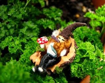 Miniature Sleeping Gnome-Nutshell Miniatures-Gnomes-Nutshells-OOAK