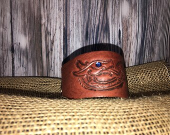 Genuine Leather Dragon Wrist Cuff