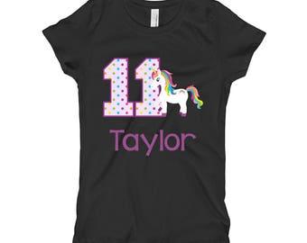 Unicorn Birthday Shirt- 11th Birthday Shirt - Eleventh Birthday Shirt 11 - Unicorn Birthday Party - Girls Birthday Shirt - Purple Black