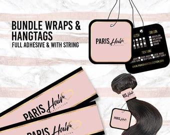 Hair Bundle Wraps and Hangtags  Hair Extension Packaging -Custom Design for your Brand - Free Shipping