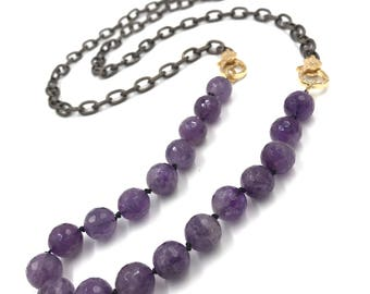 Long amethyst necklace with gold CZ diamond clasps,  CZ diamond clasp, chain necklace with diamond clasp