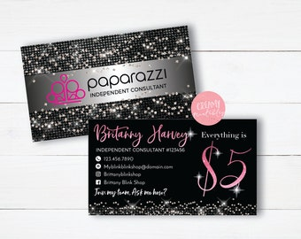 Paparazzi Business Cards, Free Personalized, Paparazzi Jewelry Consultant Card, Glitter,Black Glitter, For Vistaprint or Home Printing