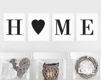 Home Print Set of 4 Prints, Home Print, Wall Decor Print, Home Printable Art, Home Wall Art, Housewarming Gift, Home Art, Home Poster Print
