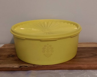 Vintage Tupperware Container ~ Tupperware Canister ~ YellowTupperware Storage 1970s