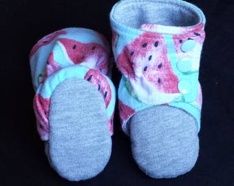 Baby Booties & Toddler Booties / Slippers ~ Stay On Boots ~ Boy or Girl ~ No Exposed Seams ~ Flannelette ~ fabric booties