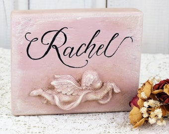 Personalized baby girl name sign Shabby chic angel sign Baby girl christening gift  Angel baby shower For newborns bedroom child room sign