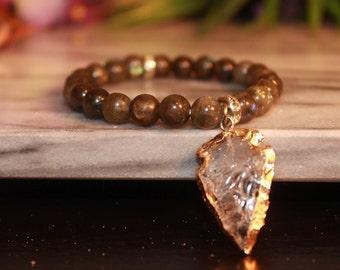 Labradorite Bracelet|Boho Jewelry|Bohemian|Charm bracelet|Everyday Boho Bracelet|Beaded Calming Bracelet|Raw Quartz Gemstone bracelet